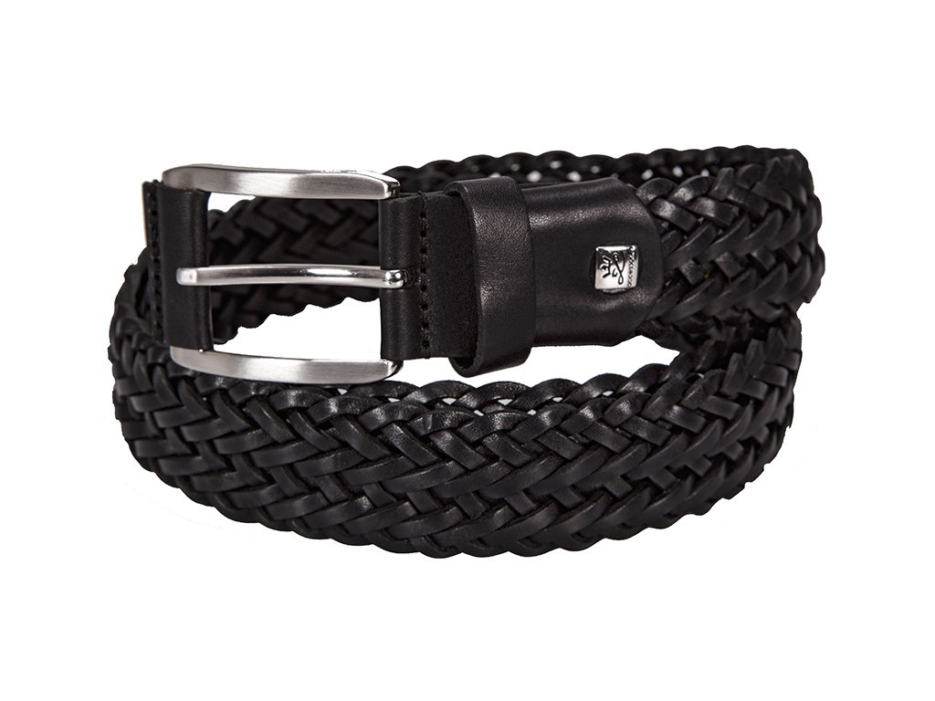 pánský černý kožený pásek 5046 , LINDENMANN