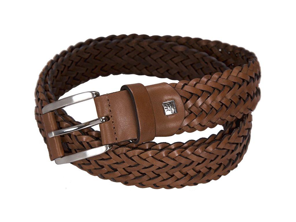 Elegantní pánský hnědý kožený pásek značky LINDENMANN
