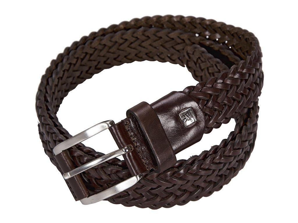 Elegantní pánský černý kožený pásek značky LINDENMANN
