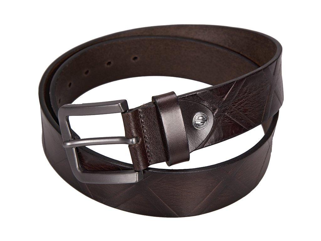 Luxusní pánský tmavě hnědý kožený pásek značky LINDENMANN