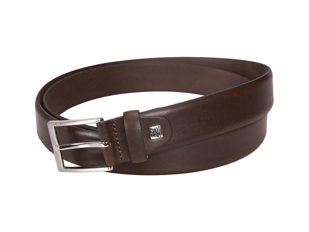 Luxusní pánský hnědý kožený pásek značky LINDENMANN v nadměrné velikosti