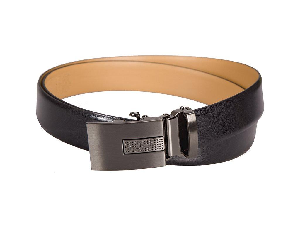 pánský černý kožený pásek 5054 s automatickou sponou , LINDENMANN