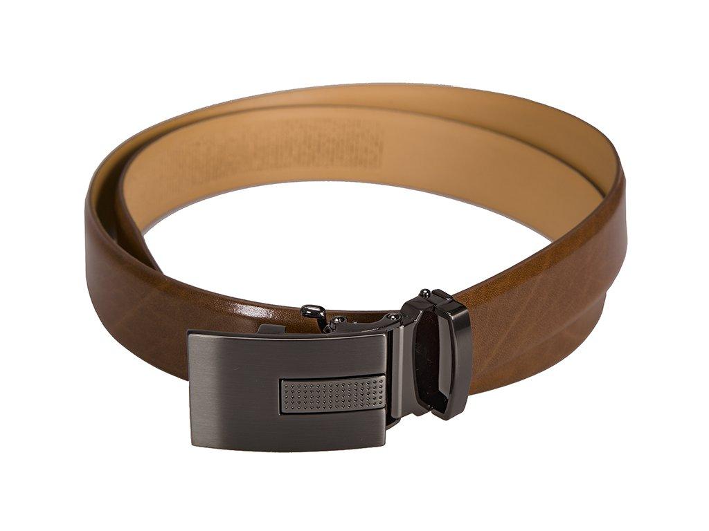 Pánský kožený pásek Lindenmann 5054 koňakově hnědý