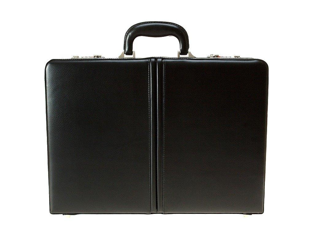 Černý kožený ataše kufřík 2667-01, d&n lederwaren
