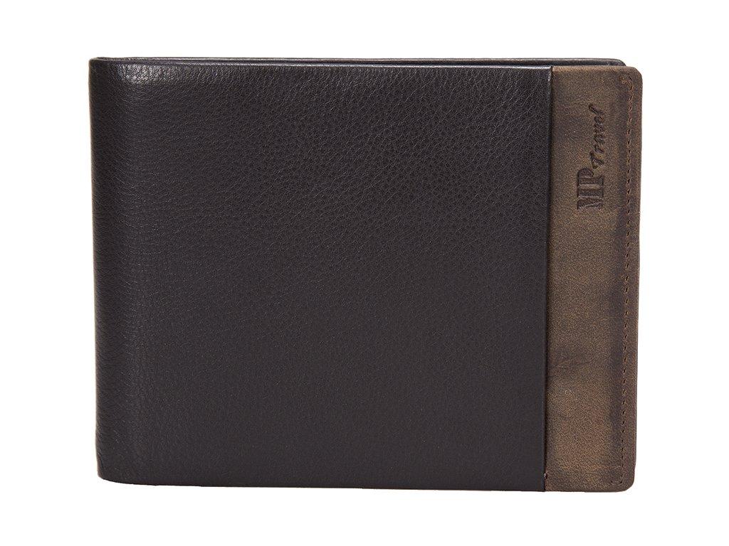 pánská černohnědá kožená peněženka B123166, MARTA PONTI