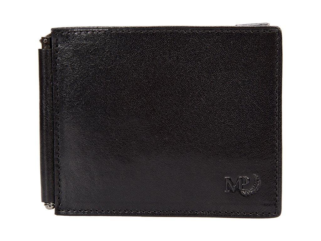 pánská černá kožená peněženka - dolarka B120227, MARTA PONTI