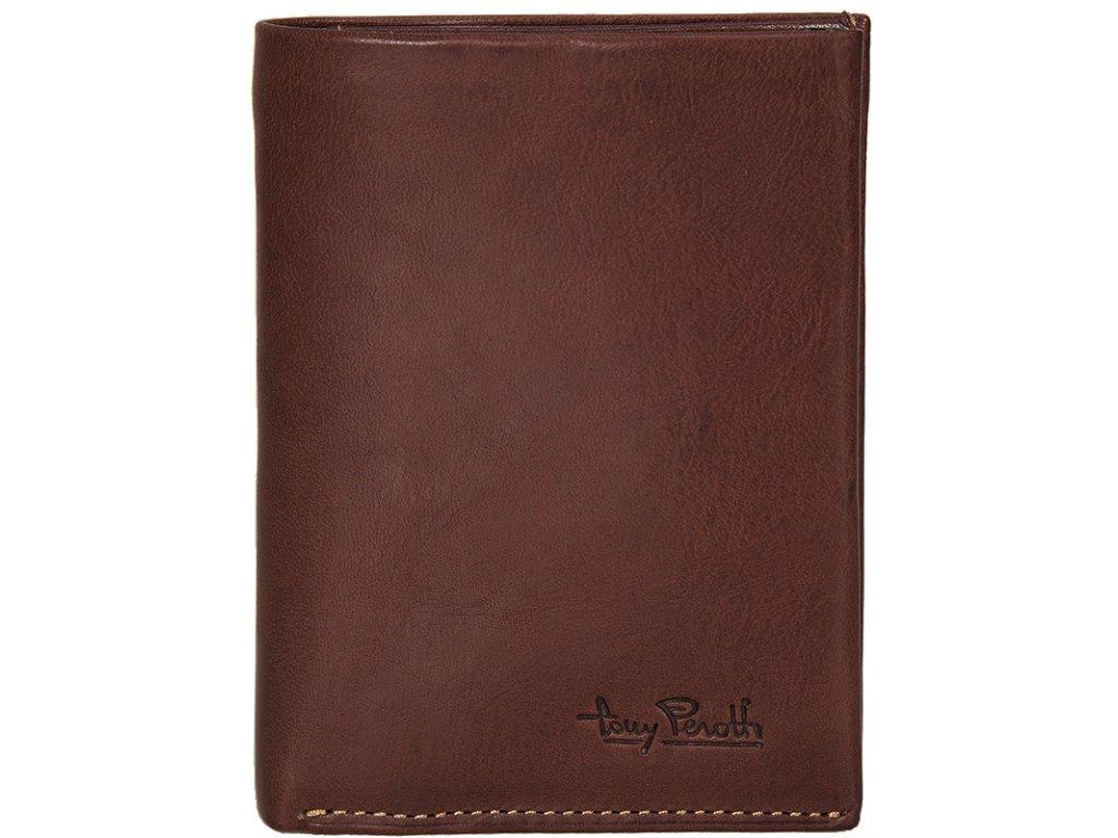 pánská hnědá kožená peněženka 3686, tony perotti