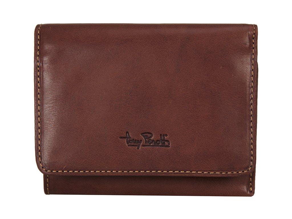 hnědá kožená peněženka 2604, tony perotti