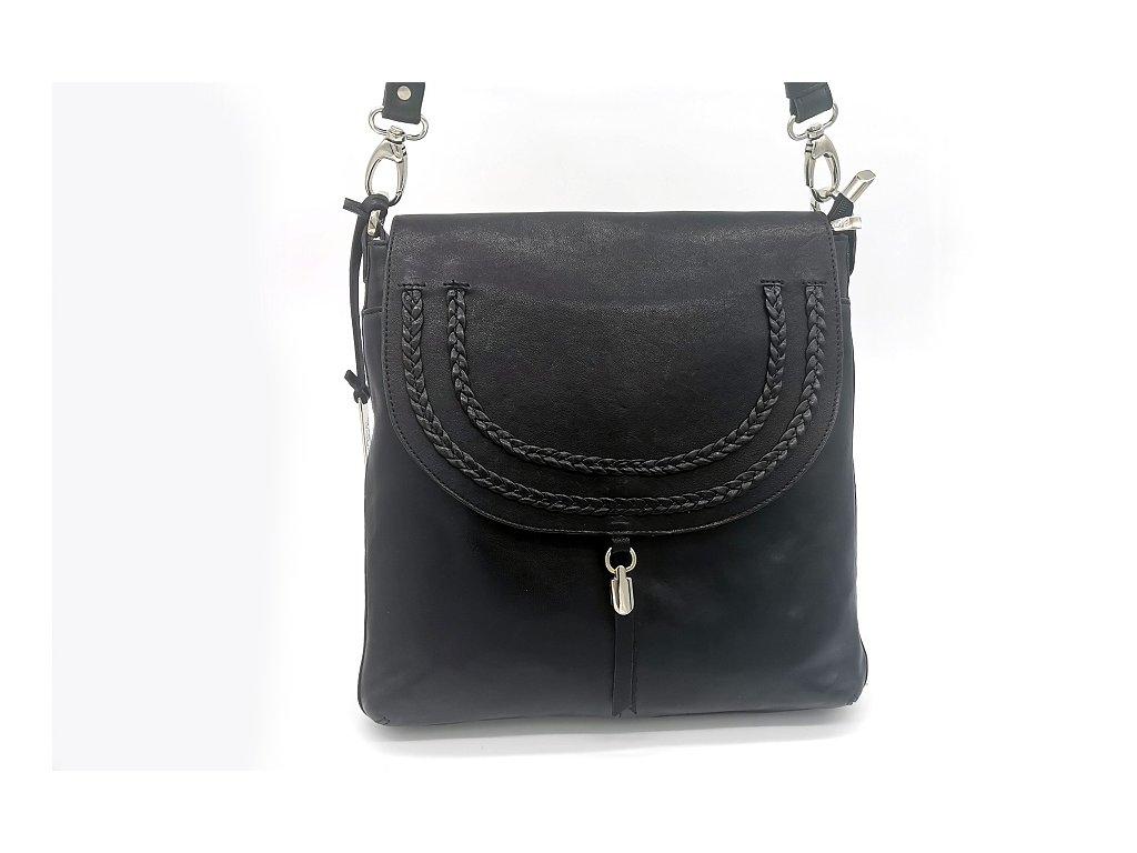 Kožená kabelka crossbody BOCA Miriam - černá