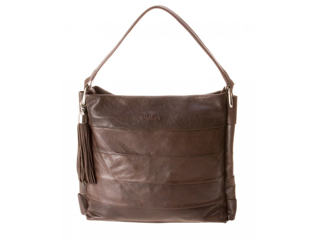 Exkluzivní kožená kabelka crossbody BOCA Brauna - hnědá