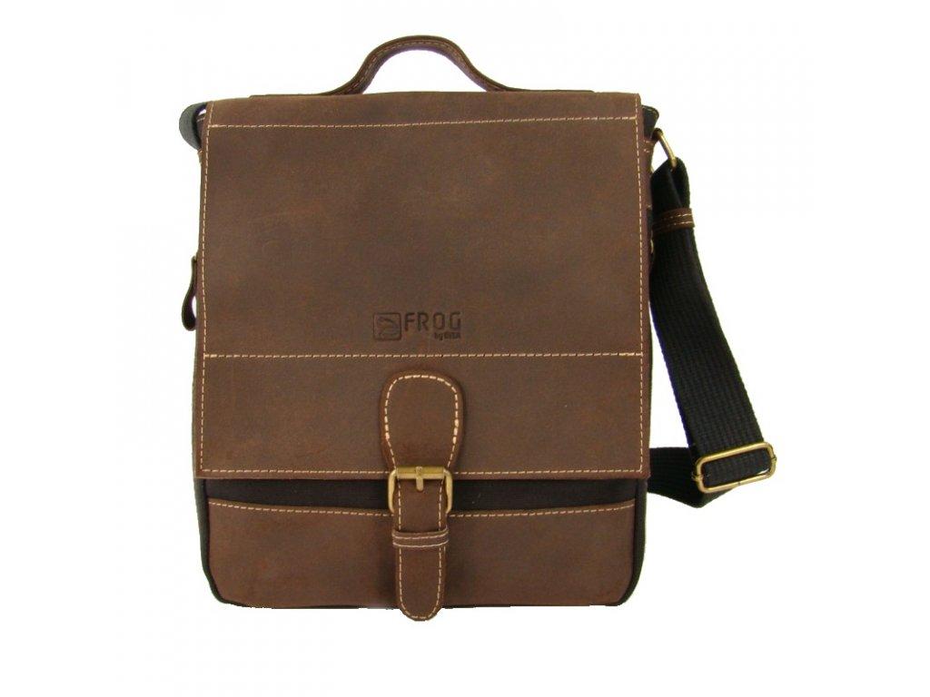 Černá taška z canvasu a pravé kůže SD 9007, FROG