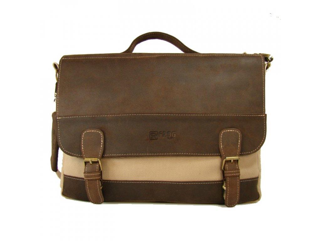 Béžová taška z canvasu a pravé kůže SD 9003, FROG