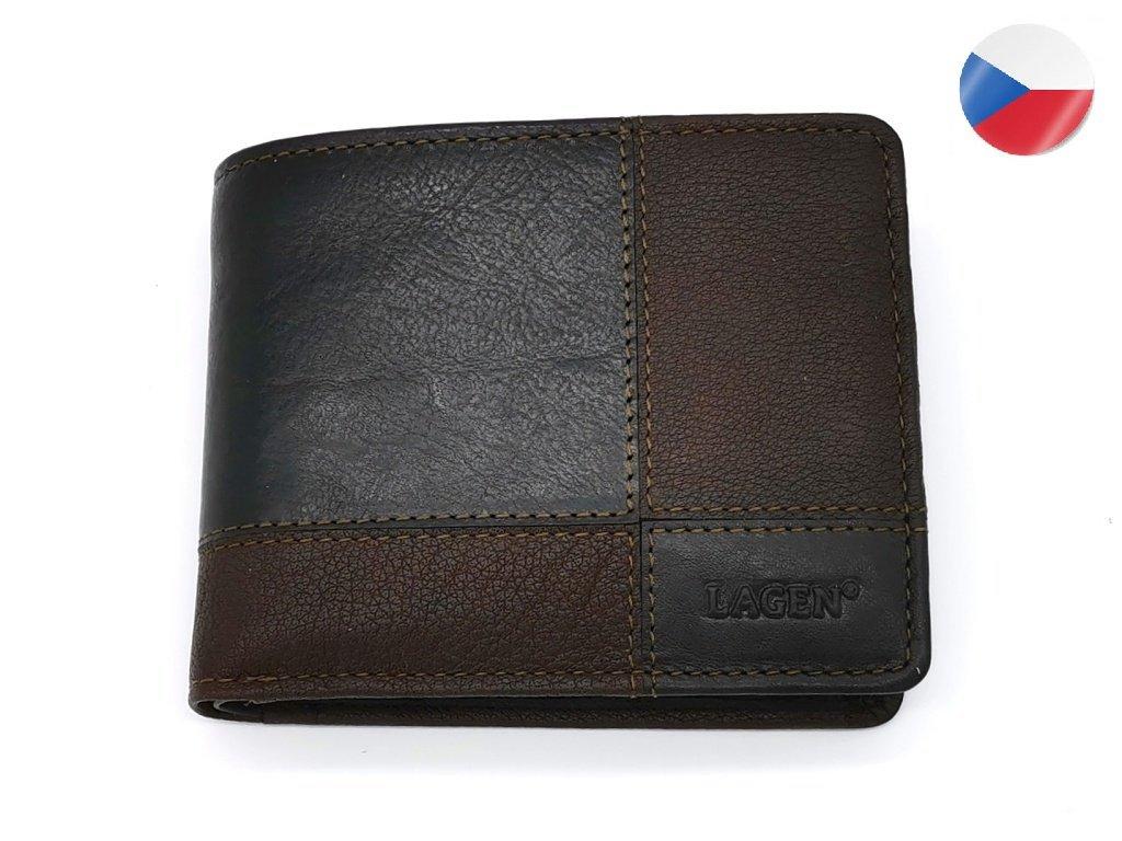 Pánská kožená peněženka LAGEN 2108/T Apolon - tmavě hnědá