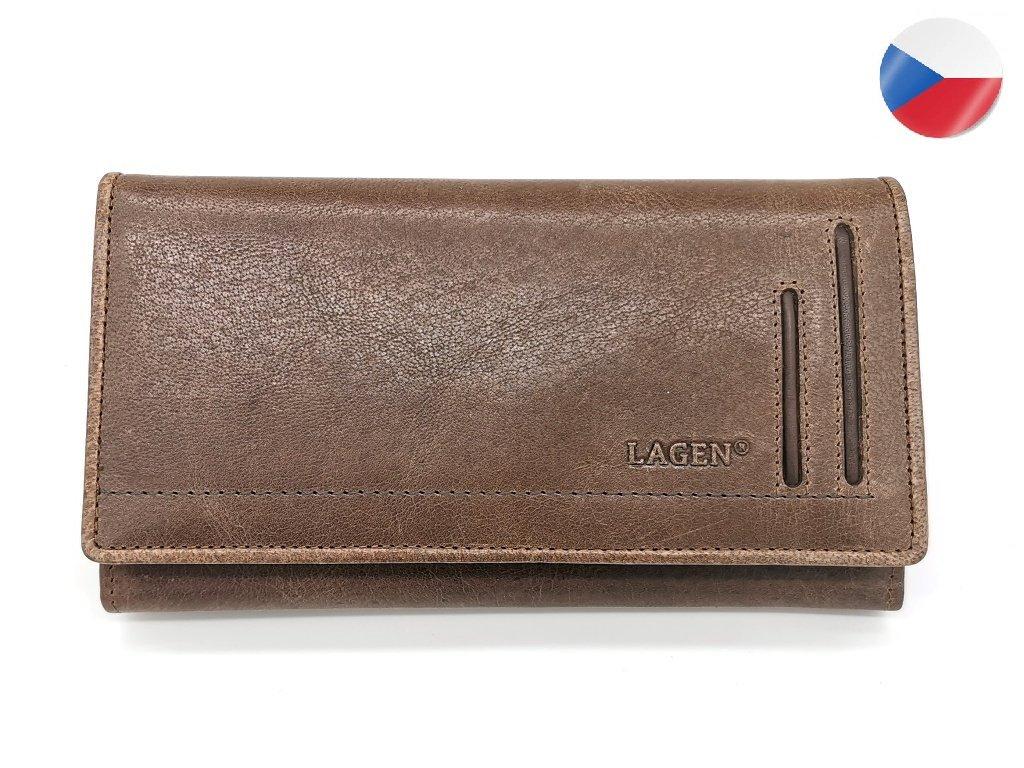 Dámská kožená peněženka LAGEN Hela - hnědá