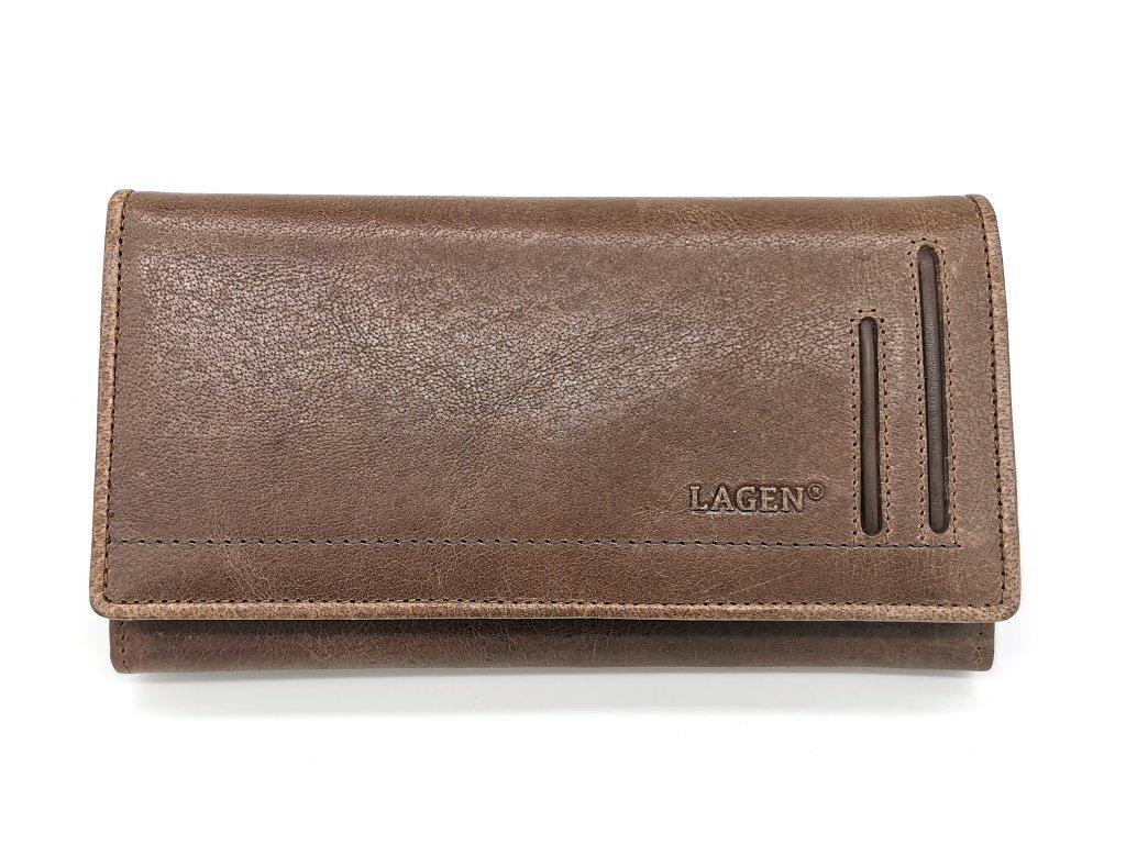 Dámská hnědá kožená peněženka 10183-BROWN, LAGEN