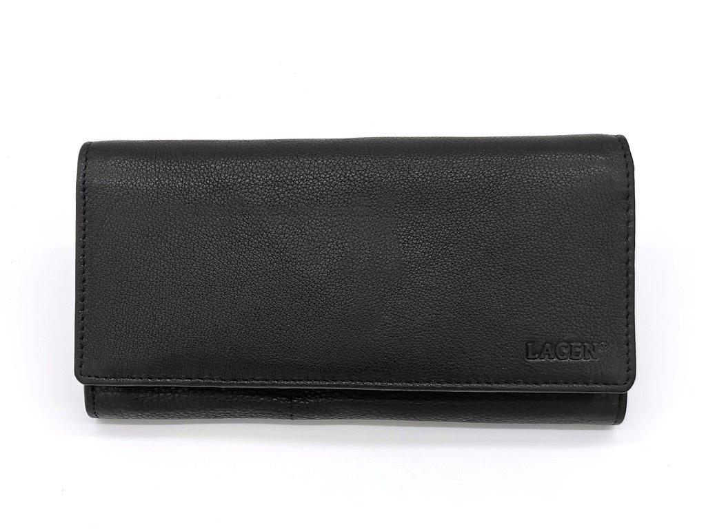 Dámská černá kožená peněženka W-102/L-BLK, LAGEN