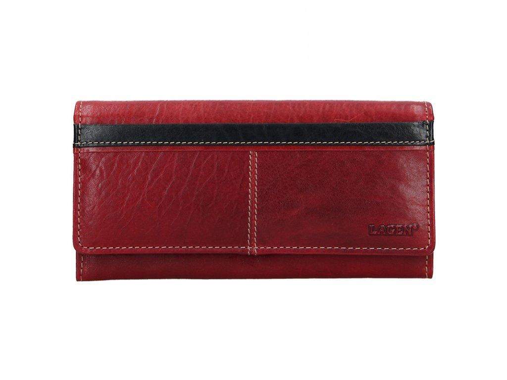 Dámská červená kožená peněženka 7546/T-RED/BLK, LAGEN