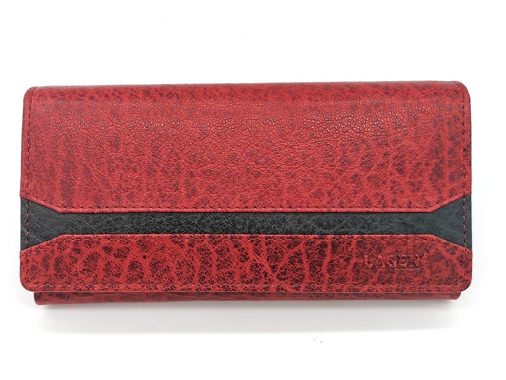 Dámská červená kožená peněženka W-2025/IT-RED/BLK, LAGEN