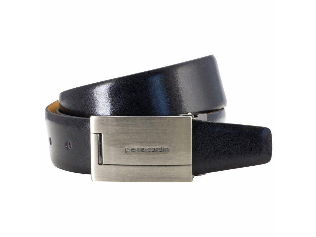 Pánský černý kožený pásek 70325, PIERRE CARDIN