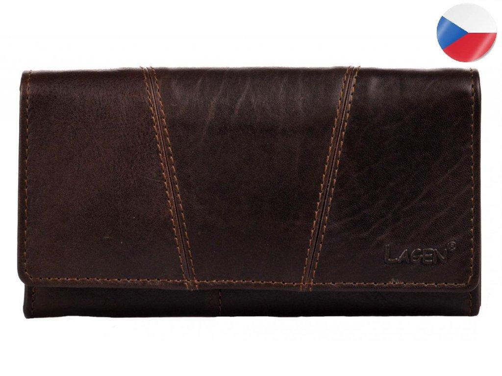 Dámská kožená peněženka LAGEN Kalisto - tmavě hnědá