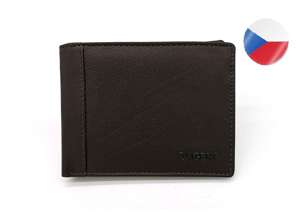 Pánská hnědá kožená peněženka LAGEN