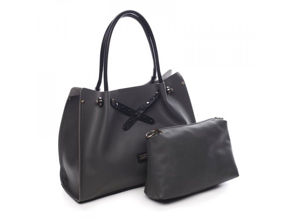 SET šedá dámská kabelka Rachel + menší kabelka, PIERRE CARDIN