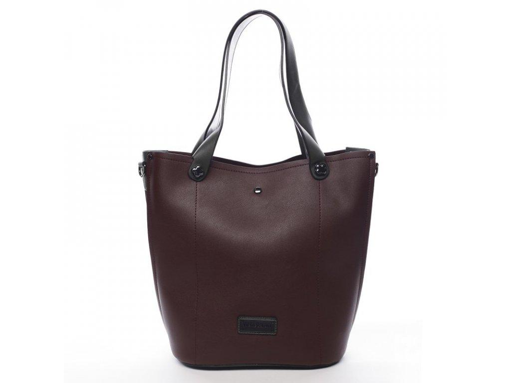 Vínová značková dámská kabelka Thomas se zelenými prvky, PIERRE CARDIN