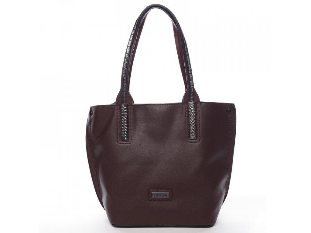 SET Vínová značková dámská kabelka Gildas + menší kabelka, PIERRE CARDIN