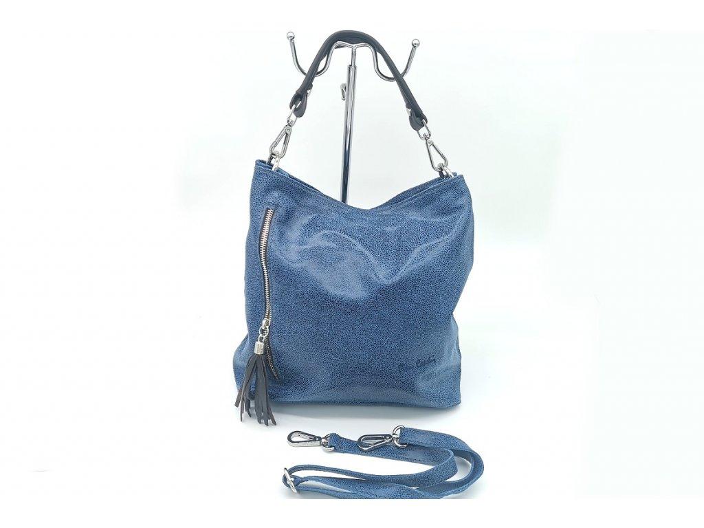 Dámská kožená kabelka PIERRE CARDIN, Augur - modrá