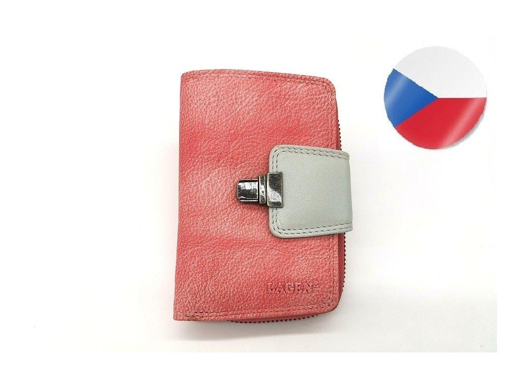 Dámská kožená peněženka LAGEN Lea - růžová/světle šedá