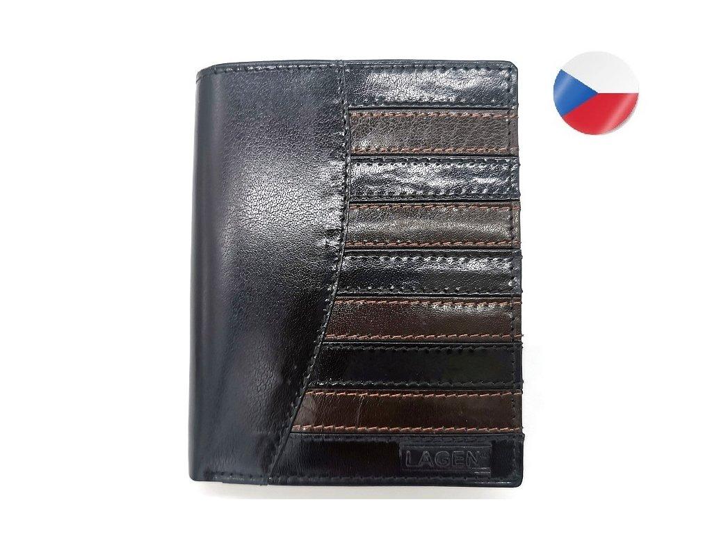 Pánská kožená peněženka LAGEN Joshua - černá/hnědá
