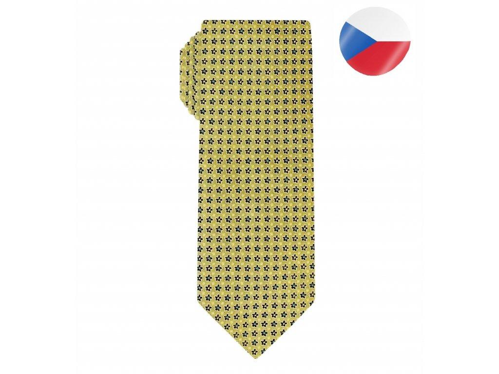 panska hedvabna kravata floral zluta (5)