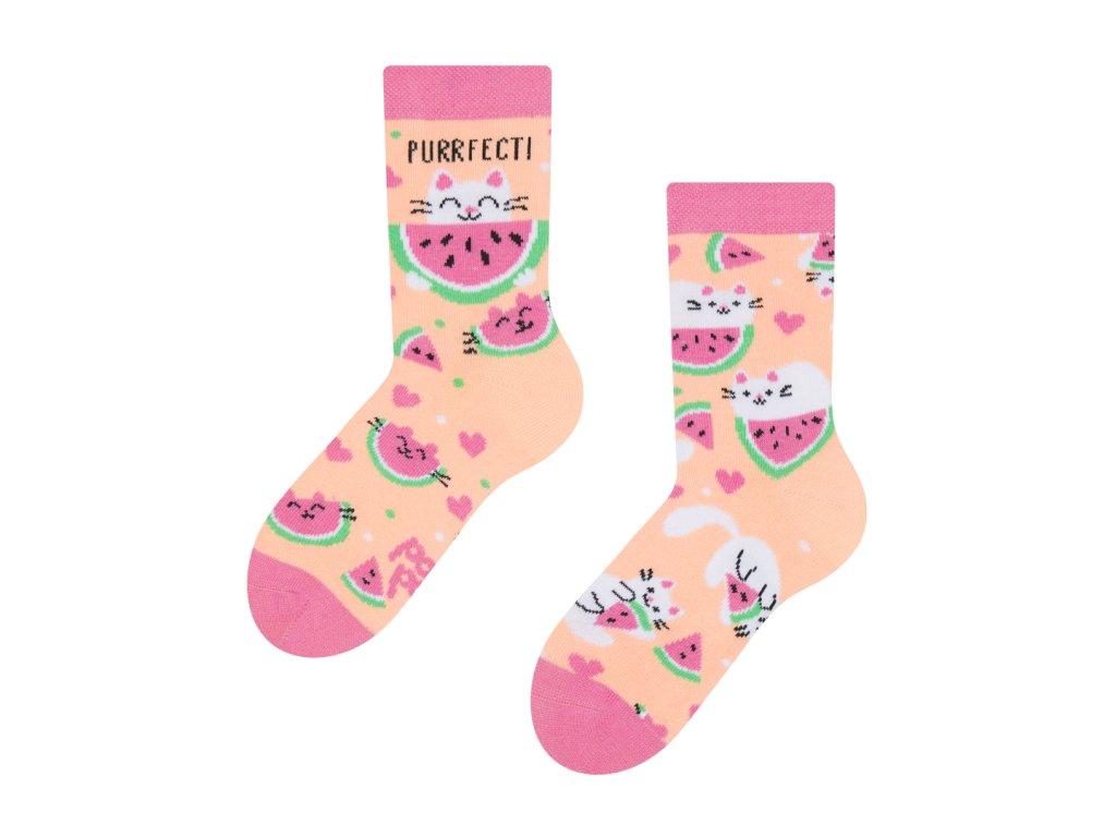 veselé dětské ponožky kočka s melounem (1)