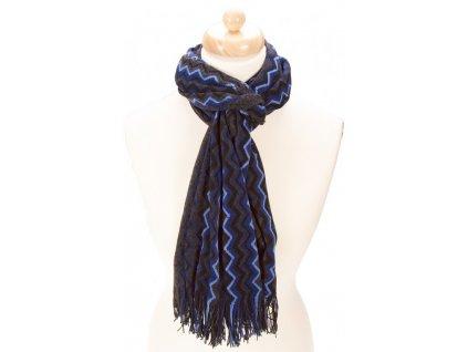 Luxusní šála tmavě šedá s modrou 100 % vlna značka DANTE 98740
