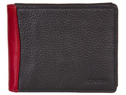 Pánská černočervená kožená peněženka 6190, GIUDI