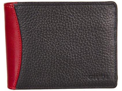 GIUDI pánská černočervená kožená peněženka 6393, GIUDI