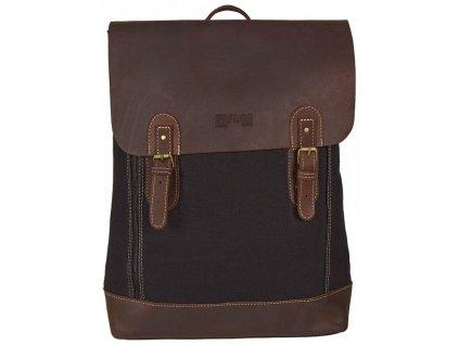 černý batoh z canvasu a pravé kůže SD 9001, FROG