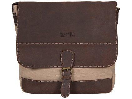 béžová taška z canvasu a pravé kůže SD 9006, FROG