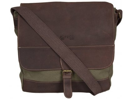 khaki taška z canvasu a pravé kůže SD 9006, FROG