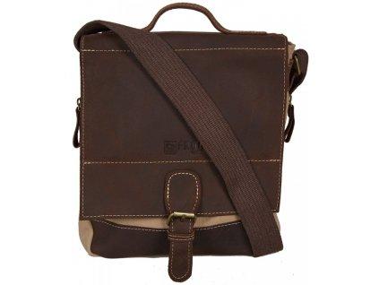 Béžová taška z canvasu a pravé kůže SD 9007, FROG