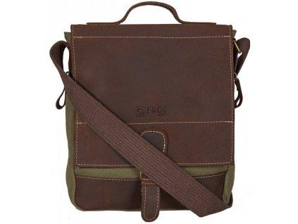 khaki taška z canvasu a pravé kůže SD 9007, FROG