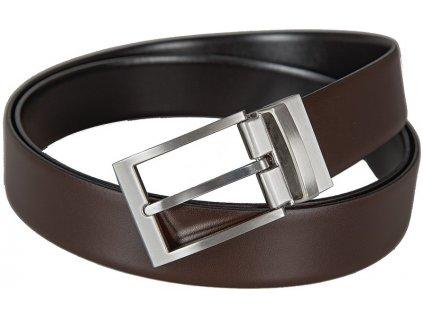 Oboustranný pánský černý a hnědý kožený pásek 3112, LLOYD