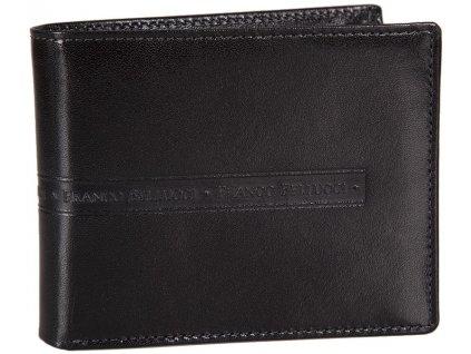 Luxusní pánská kožená peněženka z hladké černé kůže značky FRANCO BELLUCCI