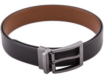 Oboustranný pánský černý a hnědý kožený pásek 813, LLOYD