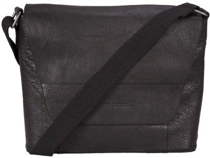 """Černá kožená taška na 15"""" notebook německé značky BRUNO BANANI"""