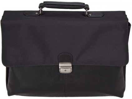 """černá aktovka na 17"""" notebook  z umělé kůže 566401, d&n lederwaren"""