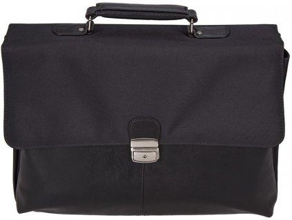 """Černá aktovka z kvalitní umělé kůže v kombinaci s nylonem - možné i na 17"""" notebook, d&n"""