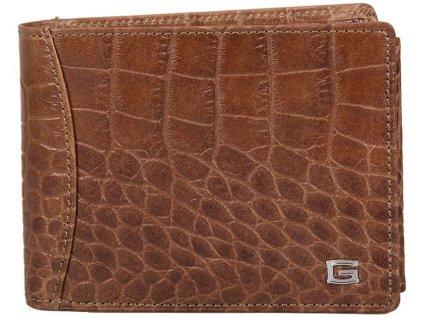 pánská kaštanově hnědá kožená peněženka 6393/kroko, GIUDI