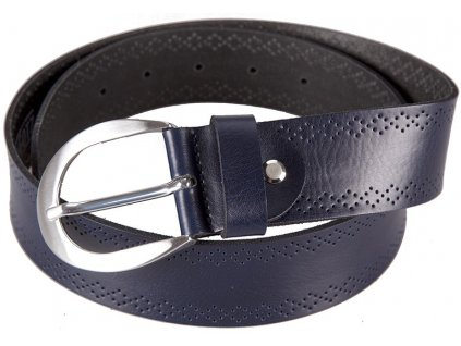 Luxusní kožený pásek tmavě modrý ozdoben perforováním BERND GÖTZ