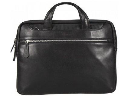 Luxusní černá pánská kožená aktovka značky MONARCHY